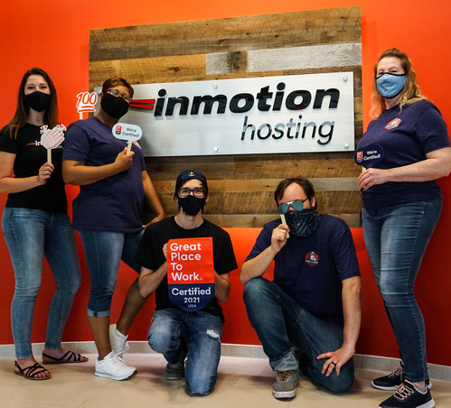 InMotion Hosting employees safely celebrate at the Virginia Beach office.