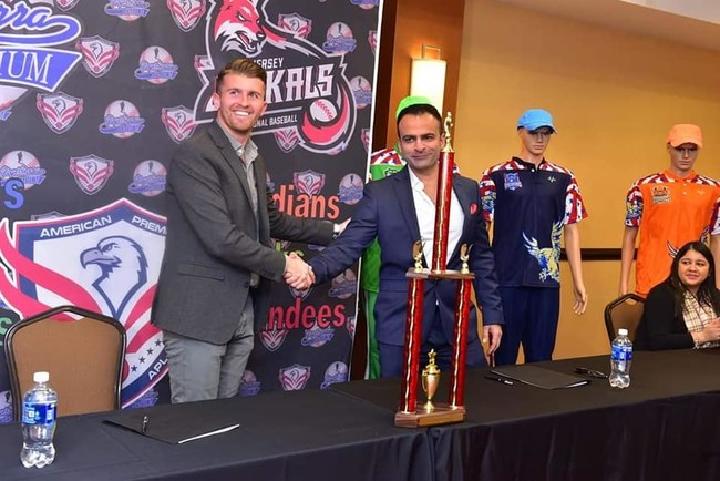 Historic moment!  Jay Mir signs an exclusive deal with Gill Addeo (Jersey Jackals) to host the American Premier League cricket tournament at Yogi Berra Stadium in New Jersey, USA.