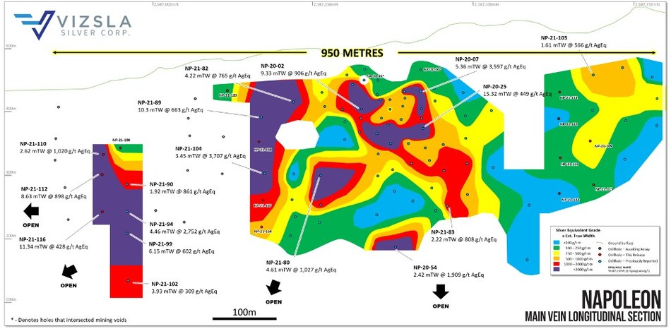 Figure 1: Longitudinal section from the main Napoleon prospect with all new holes labelled and selected intersections shown (CNW Group/Vizsla Silver Corp.)