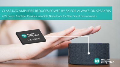 20V MAX98396 digital input audio power amplifier from Maxim Integrated offers 12.7mW of quiescent power to meet and exceed the industry's power compliance regulations, which support the always-on feature in portable Bluetooth® and smart speakers