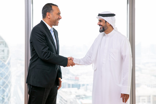 Omnix International CEO Wael Fakharany welcomes the company's new Chief Support Services Officer, Rashed al Hameli.