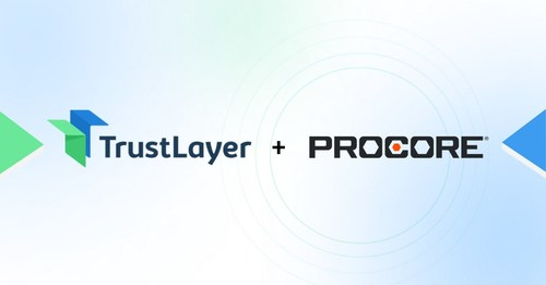 TrustLayer and Procore technology integration that improves visibility and transparency on third-party risk exposure and project compliance for construction teams.