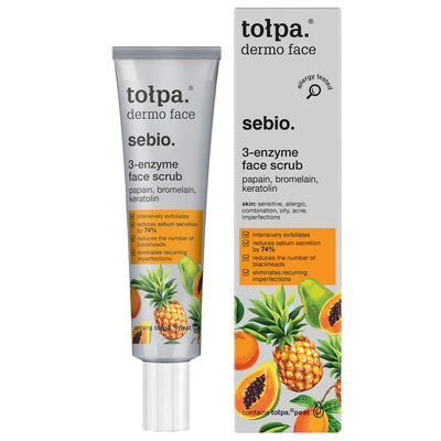 Tolpa's hero product, Tolpa Sebio 3 Enzyme Face Scrub sells one-a-minute in its native Poland and is proven to reduce blackheads from the very first use*. It offers a scrub-like action without particles or AHA acids and delivers a deep cleanse, helping to reduce the number of blackheads, as well as smoothing the skin's surface. It eliminates recurring and persistent imperfections to leave the skin renewed, moisturised and matt. (*device and dermatological tests on a group of 40 people) (PRNewsfoto/Tolpa)