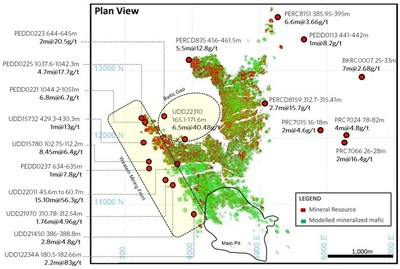 Figure 4: Plutonic Historical Significant Intercepts and Targeted New Mining Fronts (Plan View) (CNW Group/Superior Gold)