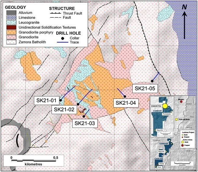 Figure 2. Drill hole locations and interpreted geology at the Shakai prospect. (CNW Group/Luminex Resources Corp.)