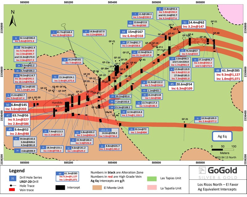 Figure 1: El Favor Drill Hole Locations (CNW Group/GoGold Resources Inc.)