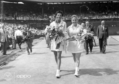 Althea Gibson (Photo: AELTC)  The first African American woman to win Wimbledon, Althea Gibson is pictured in full colour, leaving the court with her compatriot Darlene Hard after a hard-fought battle. Using one billion colours, the image, originally in black and white, brings new life to a true icon and leader, who never accepted no as an answer in life and was constantly striving to show she deserved her place on the court, regardless of her skin tone.    The image is one of seven in OPPO's Courting the Colour campaign, launched today to celebrate the return of Wimbledon.  https://events.oppo.com/en/oppo-and-tennis/#awakencolour