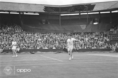 Wimbledon, post WWII (Photo: AELTC)  1946 was the first time Wimbledon took place after World War II. In the background, you can still see the damage of the Blitz, even more clearly having been reimagined using one billion colours, as part of OPPO's Courting the Colour campaign.     The image, recoloured with experts from Getty Images, is one of seven, launched today to celebrate the return of Wimbledon, the collection illuminates and restores the emotion of iconic moments from tennis history, bringing the excitement and passion back to the sport. View the collection, here: https://events.oppo.com/en/oppo-and-tennis/#awakencolour