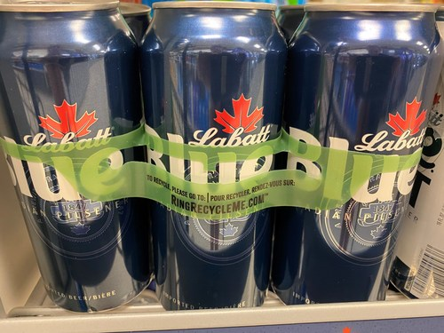 Labatt Blue and Labatt Blue Light recently rolled out new recycled and photodegradable green plastic carrier rings – Hi-Cone RingCycles™.