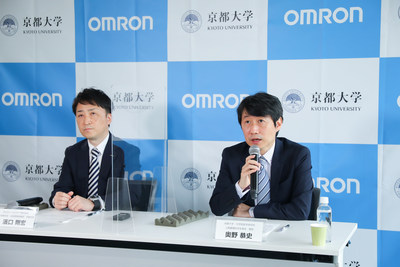 Takehiro Hamaguchi, Senior General Manager of Technology Development HQ, OMRON Healthcare Co., Ltd. (pictured left) and Yasushi Okuno, Ph.D., Prof., Department of Biomedical Data Intelligence, Graduate School of Medicine, Kyoto University, Kyoto, Japan (pictured right)