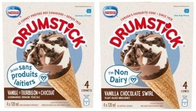 DRUMSTICK desserts glacés en cornet Sans produits laitiers Vanille et tourbillons de chocolat 4 x 120 millilitres (Groupe CNW/Nestle Canada Inc.)