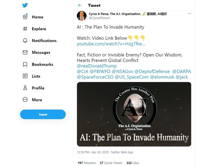 4-24-2020, Cyrus Tweets movie to Potus, Pentagon, CIA, FBI, Space Force, Elon Musk, Jack Dorsey, and military Generals at height of pandemic. Within 3 days, on April 27, 2020, the Pentagon confirms for first time in history UFO's, starting a chain reaction. Movie got the Pentagon and CIA talking. Later in the year, on December 8, 2020, Cyrus put out another tweet asking for complete declassification of Alien and UFO files. Within days, the order was put to give DNI 6 months to brief congress.