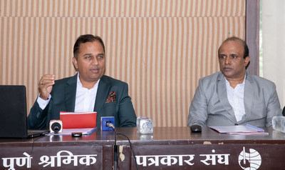 Dr. Magensh Karad and Prof. Sujit Dharmapatre During the Press Conference of MIT School of Indian Civil Services, Pune