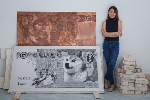 """""""Doge the Moon"""", Red Hong Yi's first NFT from her Meme Banknotes Series, has dropped on the Binance NFT Marketplace. Photography by Annice Lyn"""