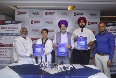 Dr. R.S Bawa Pro-chancellor Chandigarh University along with other University officials and Aruna Tanwar, India India's first Taekwondo Athlete to be selected for Paralympics launching the R Tikaram scholarship for para-athletes at Mohali.
