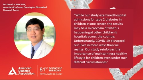 Dr. Daniel S. Hsia presents findings at the virtual 81st Scientific Sessions of the American Diabetes Association.