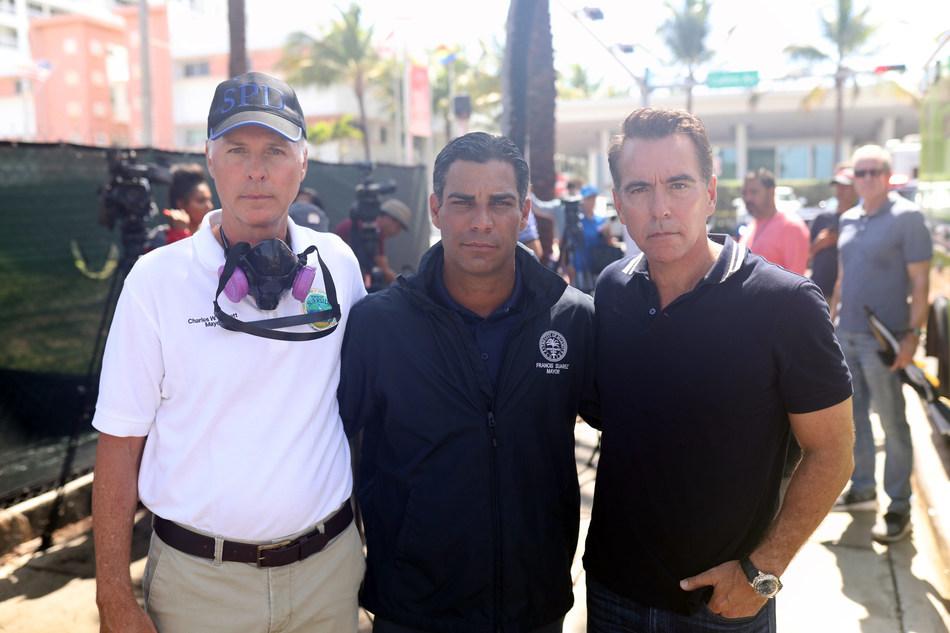 Surfside Mayor Charles Burkett; Miami Mayor Francis Suarez; Thoma Bravo Co-founder Orlando Bravo