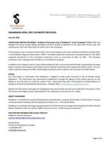 ShaMaran April 2021 Payments Received (CNW Group/ShaMaran Petroleum Corp.)