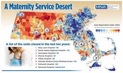 Map of Massachusetts Maternity Services Closures