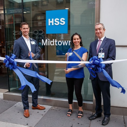 Justin Oppenheimer, Enterprise Chief Operating Officer & Chief Strategy Officer, Lauren Tanenbaum, Vice President, Regional Markets, and Joel M. Press, MD, Physiatrist-in-Chief, attend the ribbon cutting for the grand opening of HSS Midtown today.