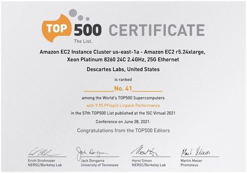 Descartes Labs 2021 TOP500 Certificate