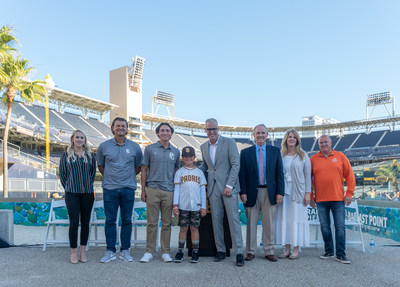 Perfect Game executives visit San Diego to announce details of 2021 All-American Classic to be held at Petco Park, August 22 (L-R): Paige Maddux, Rady Children's Foundation; Trevor Hoffman, MLB Hall of Famer & All-American Classic Honorary Chairman; Mikey Romero, 2021 All-American Classic athlete; Carter Santos, honorary All-American Classic athlete; Daron Sutton, Perfect Game; Brad Clement, Perfect Game; Jennifer Ford, Perfect Game; Dusty Jaquins, President/CEO, Snack-Smart, Inc./TOP Chops