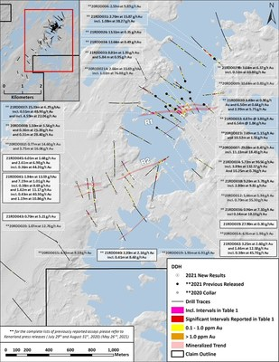 Figure 2. Plan Map of Reported Drilling (CNW Group/Kenorland Minerals Ltd.)