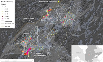 Figure 4. Map of Frotet Project showing Regional Till Sampling Geochemical Results (CNW Group/Kenorland Minerals Ltd.)