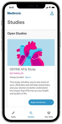 The new Medtronic Discovery App™ is being used in Medtronic's first app-based research study, DEFINE AFib, to address unanswered questions about the impacts of atrial fibrillation (AF) and to enable improved management of patients with AF.
