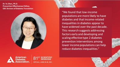 Dr. Yu Chen presented findings at the virtual 81st Scientific Sessions of the American Diabetes Association.