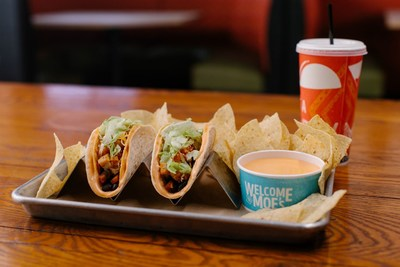 The Frank's RedHot® Buffalo Queso Taco is a hard shell taco wrapped in a soft tortilla with buffalo queso in between.