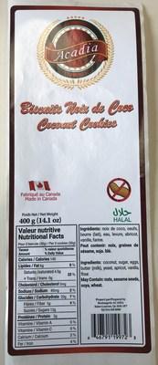 BISCUITS NOIX DE COCO (Groupe CNW/Ministère de l'Agriculture, des Pêcheries et de l'Alimentation)