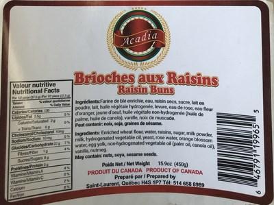 Brioches aux raisins (Groupe CNW/Ministère de l'Agriculture, des Pêcheries et de l'Alimentation)