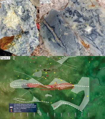 Figure 1. Completely silicified mafic volcanic rock containing disseminated sulphides that has subsequently hydrothermally brecciated. Note the ginguro-like rind to some of the fragments.  Figure 2. Compilation map of the Conquest Zone, summarizing preliminary IP results overlain with gold-bearing rock samples (red squares) and gold anomalous soil samples (yellow circles). The location of the newly discovered mineralized outcrops are shown in inverted triangles. (CNW Group/Northern Shield Resources Inc.)
