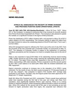 Africa Oil Announces the Receipt of Prime Dividend and Provides Positive Egina Operational Update (CNW Group/Africa Oil Corp.)