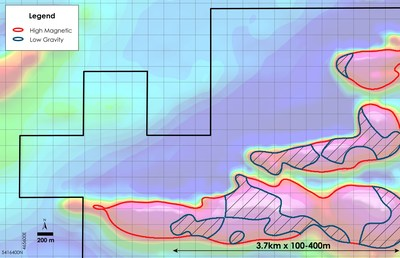 Figures 2 - plan view of Nesbitt Property showing Reported– Outline of Gravity Low and Magnetic High geophysics anomaly overlain on total field magnetic intensity, Nesbitt Township, Ontario (CNW Group/Canada Nickel Company Inc.)
