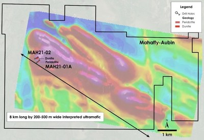 Figure 4 – Plan view of Mahaffy-Aubin Property – Current drilling overlain on total field magnetic intensity, Mahaffy and Aubin Townships, Ontario. (CNW Group/Canada Nickel Company Inc.)
