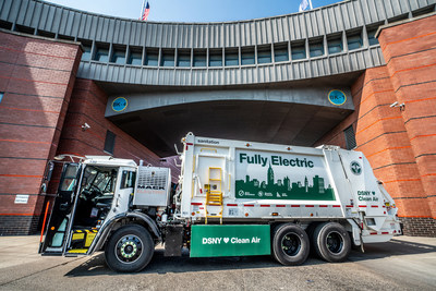 Mack Trucks announced today that the New York City Department of Sanitation (DSNY) plans to purchase seven Mack® LR Electric refuse models, which will operate in each of the city's boroughs. Pictured: The DSNY Mack LR Electric demonstrator model at DSNY's Brooklyn North 1 garage.