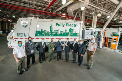 Mack Trucks announced today that the New York City Department of Sanitation (DSNY) plans to purchase seven Mack® LR Electric refuse models, which will operate in each of the city's boroughs. Pictured left to right are DSNY Superintendent Anthony Donofrio; DSNY Deputy Director Michael Matkovic; DSNY Deputy Director Spiro Kattan; DSNY Assist. Chief Joseph Cendagorta; DSNY Deputy Commissioner Rocco DiRico; Mack Trucks National Account Manager John Stuart; Vasso Waste Systems President Tony Vasso; DSNY Deputy Director Giovanni Ianniello; DSNY Superintendent James Anderson.