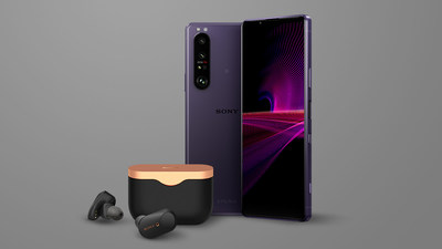 Sony Xperia 1 III smartphone (Frosted Purple shown) with WF-1000XM3 wireless noise cancelling earbuds