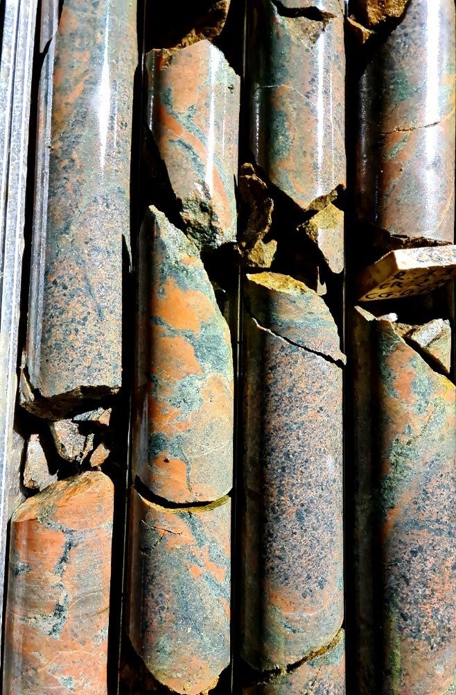 Figure 2. Sulfide-bearing Iron Breccia (with hematite and chlorite) at approximately 25m downhole in OEDD-38. Core is HQ or 6.3cm in diameter. (CNW Group/Awale Resources)