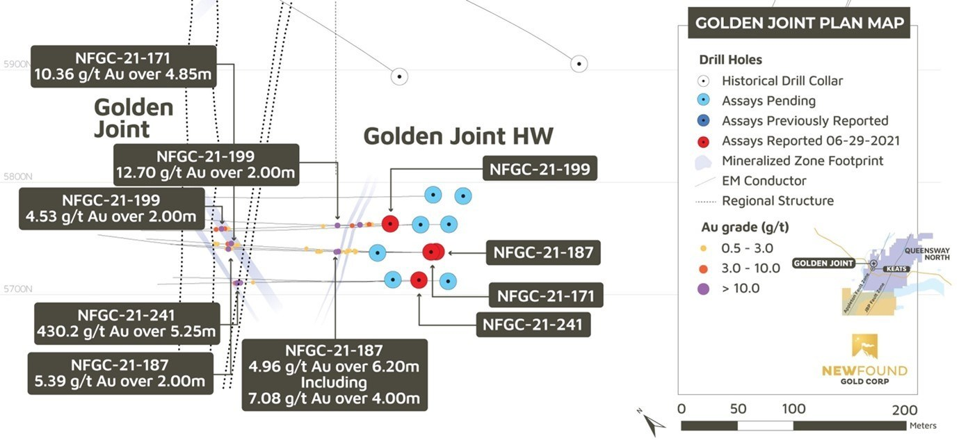 Figure 2. Golden Joint Main and Golden Joint HW plan view (CNW Group/New Found Gold Corp.)