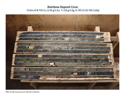 Rainbow Deposit Core Photo - PBM-129-W2 (CNW Group/Callinex Mines Inc.)