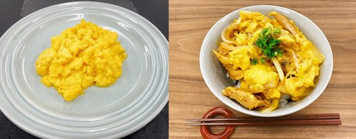 """Left: The new NEXT EGG 1.0  Right: A Japanese dish """"Oyako don"""" usually topped with chicken and egg, made with Next Meat's plant based NEXT Chicken and NEXT EGG"""