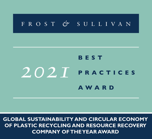 2021 Global Sustainability and Circular Economy of Plastic Recycling and Resource Recovery Company of the Year Award (PRNewsfoto/Frost & Sullivan)