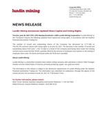Lundin Mining Announces Updated Share Capital and Voting Rights (CNW Group/Lundin Mining Corporation)