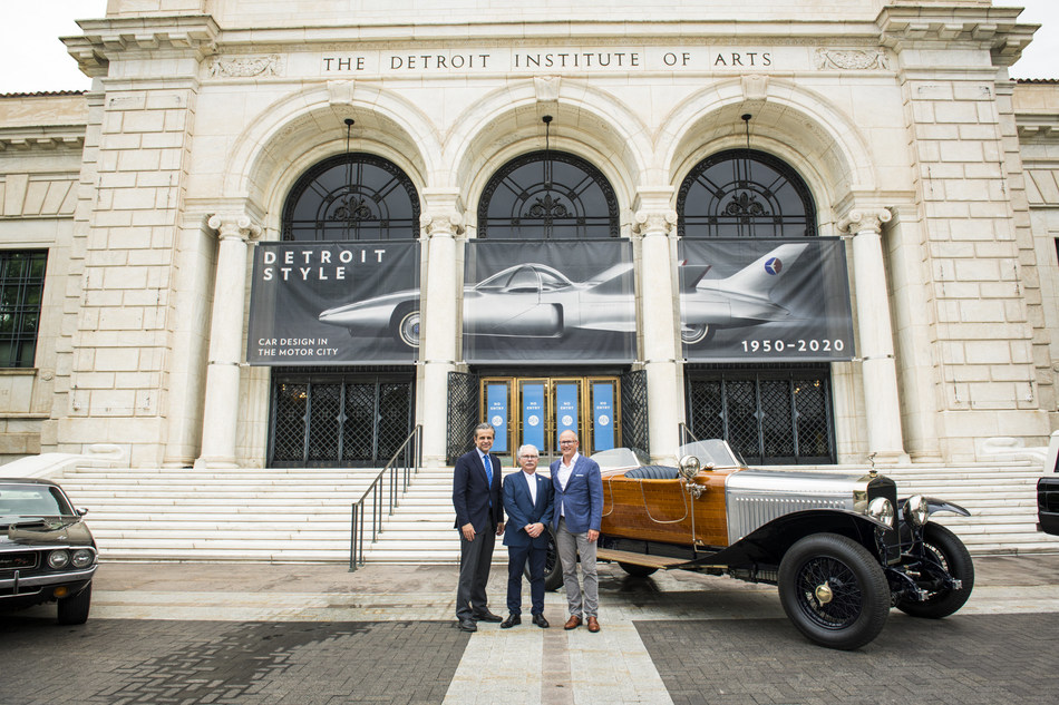 L to R: Salvador Salort-Pons, Director, President and CEO, Detroit Institute of Arts; Larry Moss, Chairman, Concours d'Elegance of America; and McKeel Hagerty, CEO, Hagerty present the Detroit Institute of Art as the home of the Concours of America beginning in September 2022.
