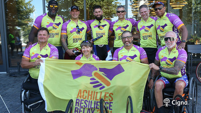 Cigna Corporation CEO David Cordani served as a racing guide to several members of the Achilles Freedom Team, which is composed of U.S. veterans with disabilities, during the Washington, D.C. leg of the Achilles Resilience Relay on June 30, 2021.
