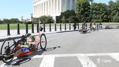 United States Marine Sgt. and Drill Instructor (Retired) Mike Sprouse, of New Smyrna Beach, Florida, participates in the Washington, D.C. leg of the Achilles Resilience Relay on June 30, 2021.