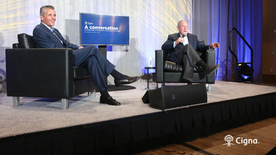 President George W. Bush discusses his personal lessons on leadership, deep respect for the military and the importance of mental health with Cigna Corporation CEO David Cordani at a fireside chat in Washington D.C. on June 30, 2021.